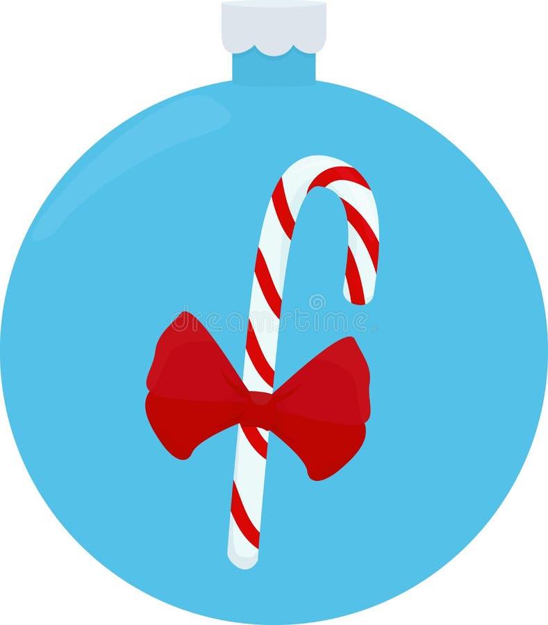 Illustrazione di vettore della caramella di Natale Canna del caramello, sulla palla blu di natale illustrazione vettoriale