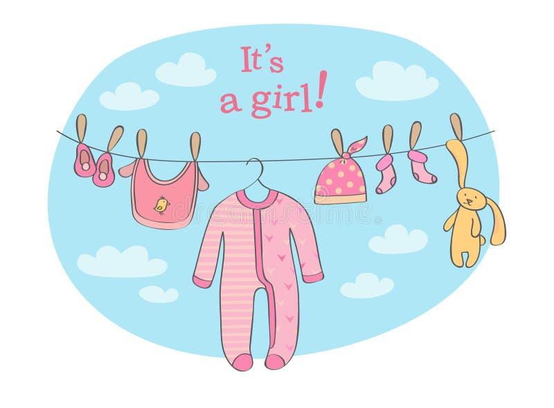 Illustrazione di vettore della carta di annuncio della neonata illustrazione di stock