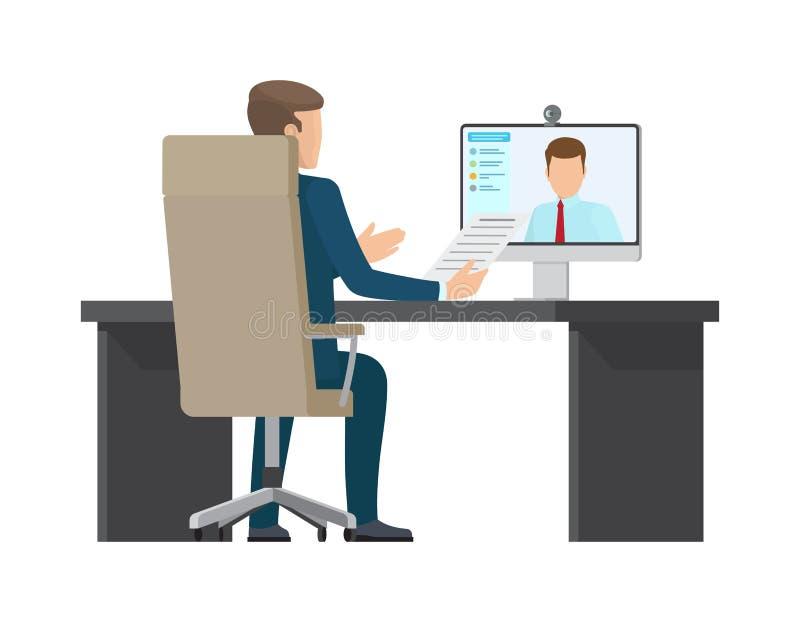 Illustrazione di vettore della carta di colore dell'incontro di affari illustrazione di stock