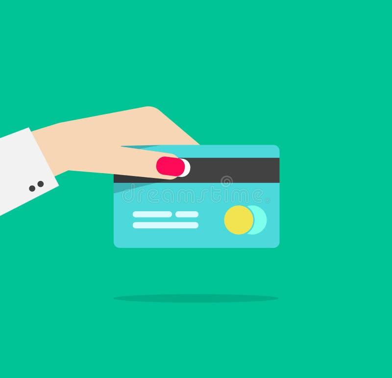 Illustrazione di vettore della carta di credito della tenuta della mano della donna illustrazione di stock