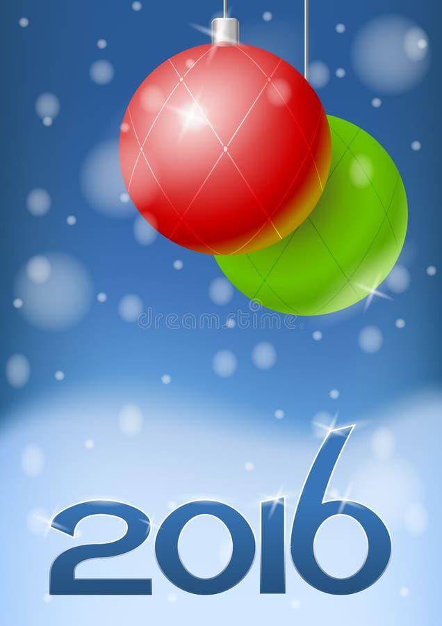 Illustrazione di vettore della cartolina d'auguri del nuovo anno 2016 royalty illustrazione gratis
