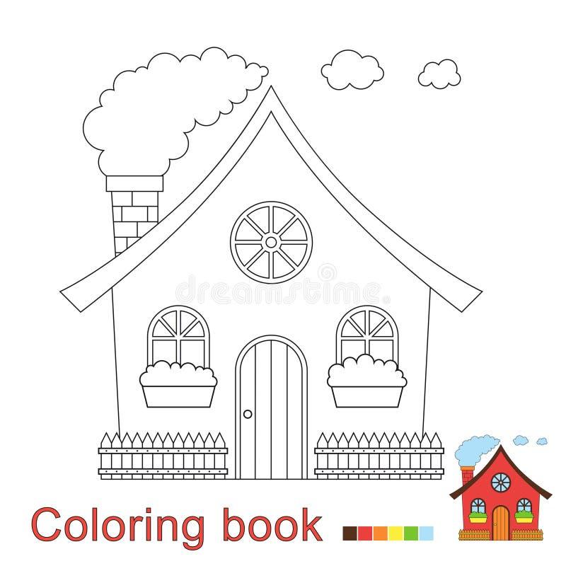 Illustrazione di vettore della casa divertente per il libro da colorare illustrazione vettoriale
