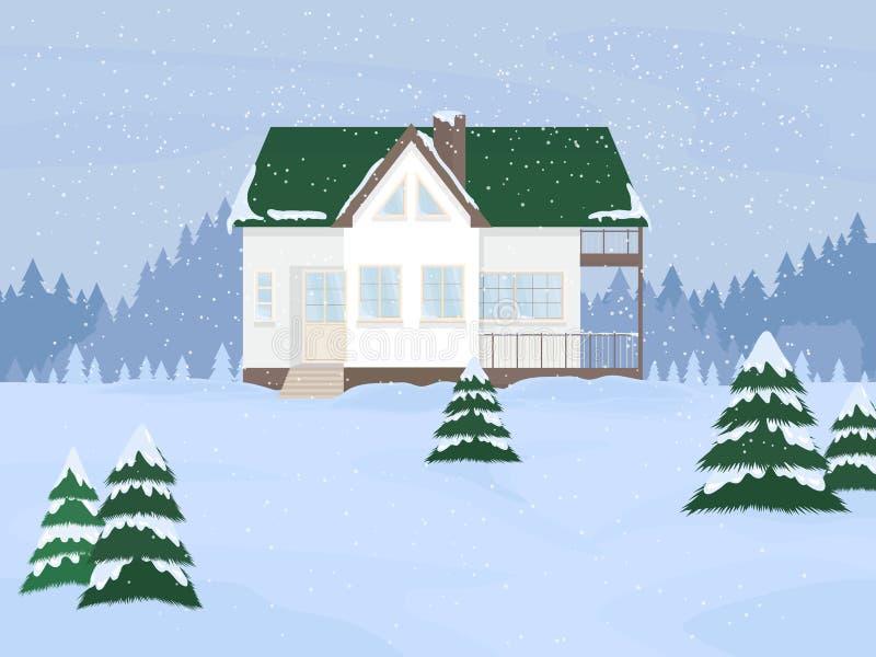 Illustrazione di vettore della casa suburbana della famiglia con la mansarda e degli abeti contro i precedenti del paesaggio di i royalty illustrazione gratis