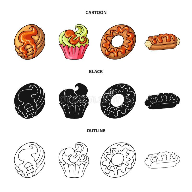 Illustrazione di vettore della confetteria e del segno culinario Metta del simbolo di riserva del prodotto e della confetteria pe royalty illustrazione gratis