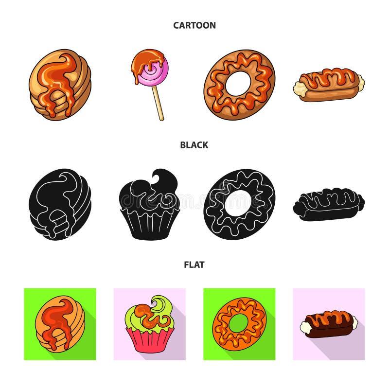 Illustrazione di vettore della confetteria e del segno culinario Metta del simbolo di riserva del prodotto e della confetteria pe illustrazione di stock