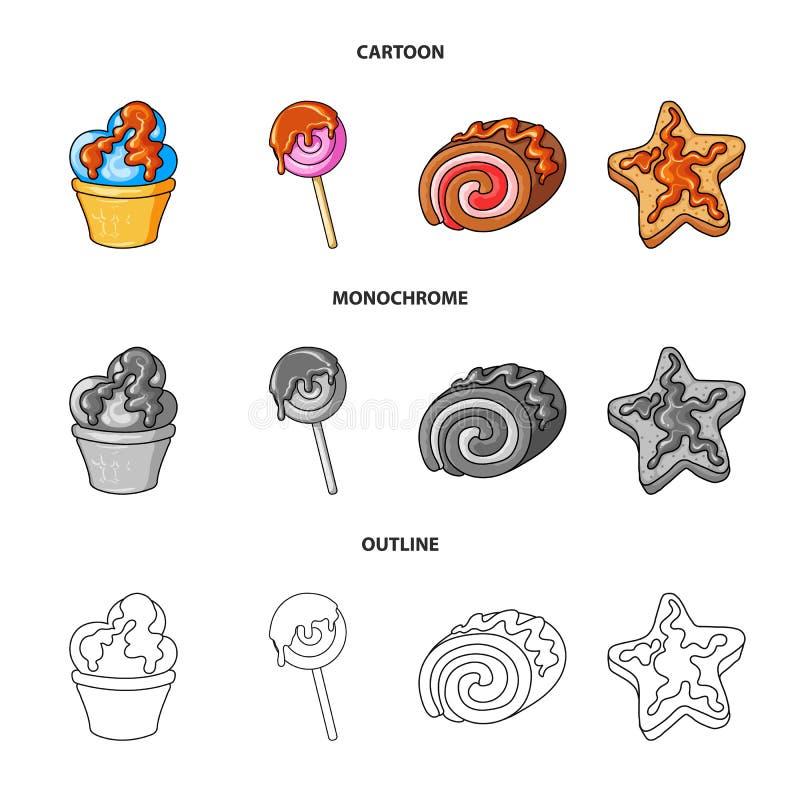 Illustrazione di vettore della confetteria e del segno culinario Raccolta del simbolo di riserva del prodotto e della confetteria illustrazione di stock