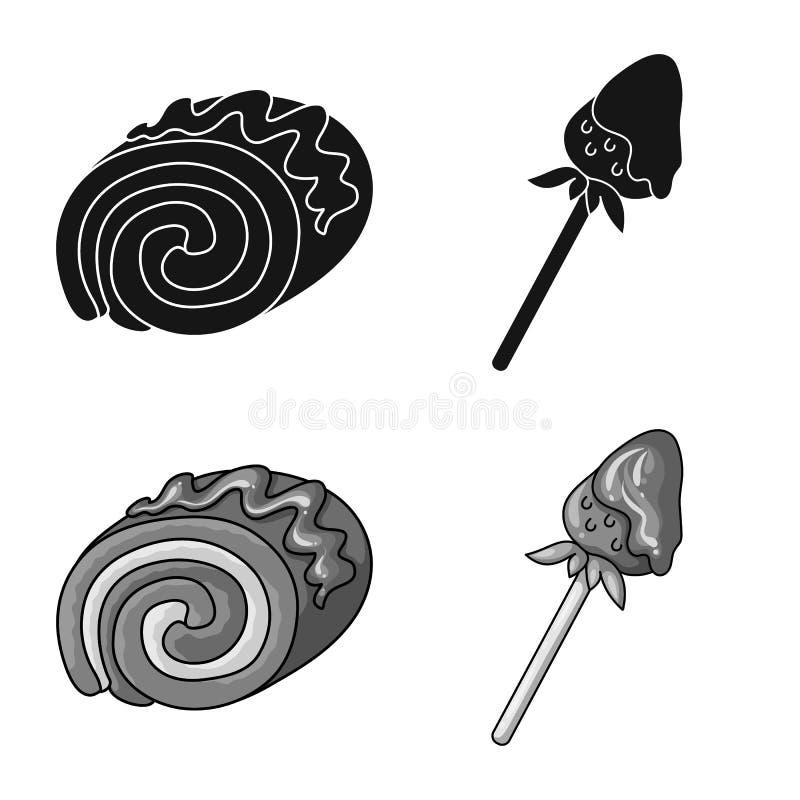 Illustrazione di vettore della confetteria e del simbolo culinario Raccolta del vettore delle azione del prodotto e della confett illustrazione di stock