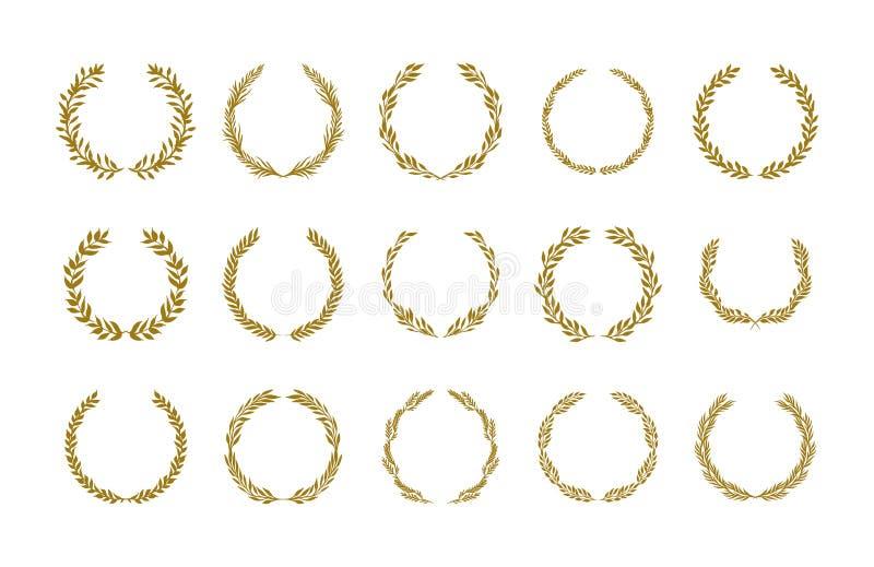 Illustrazione di vettore della corona del fogliame dell'alloro dell'oro messa su fondo bianco illustrazione vettoriale