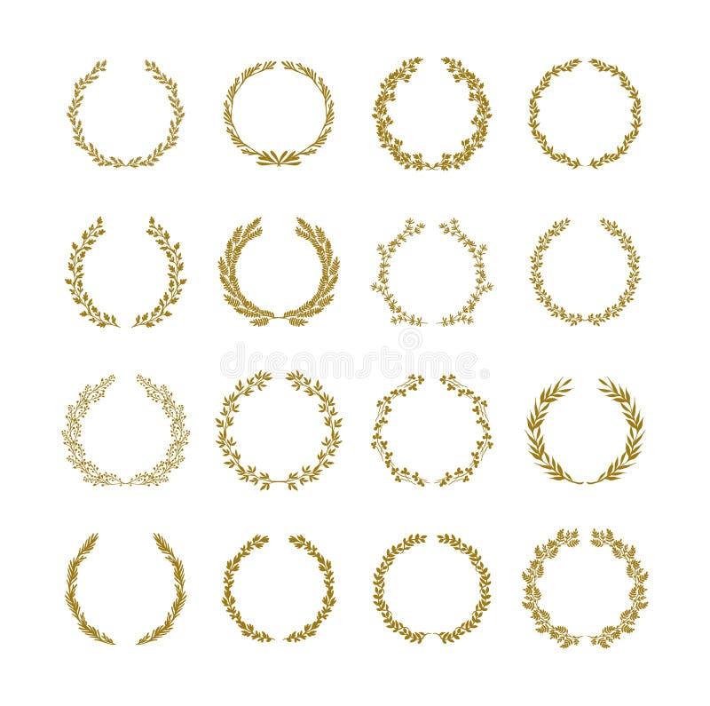 Illustrazione di vettore della corona del fogliame dell'alloro dell'oro messa su fondo bianco illustrazione di stock