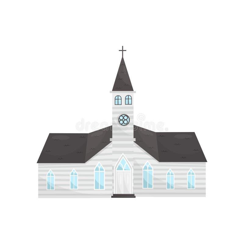 Illustrazione di vettore della costruzione di chiesa cattolica su un fondo bianco illustrazione vettoriale