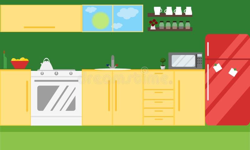 Illustrazione di vettore della cucina Progettazione piana royalty illustrazione gratis