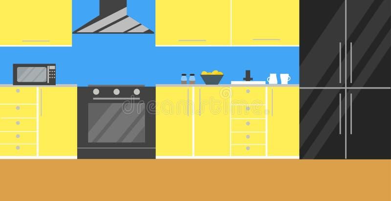 Illustrazione di vettore della cucina Progettazione piana illustrazione vettoriale