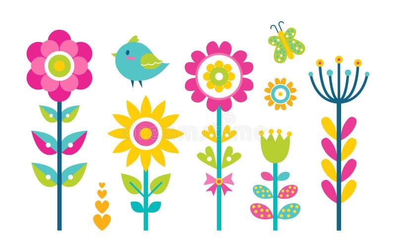 Illustrazione di vettore della farfalla della raccolta dei fiori illustrazione vettoriale
