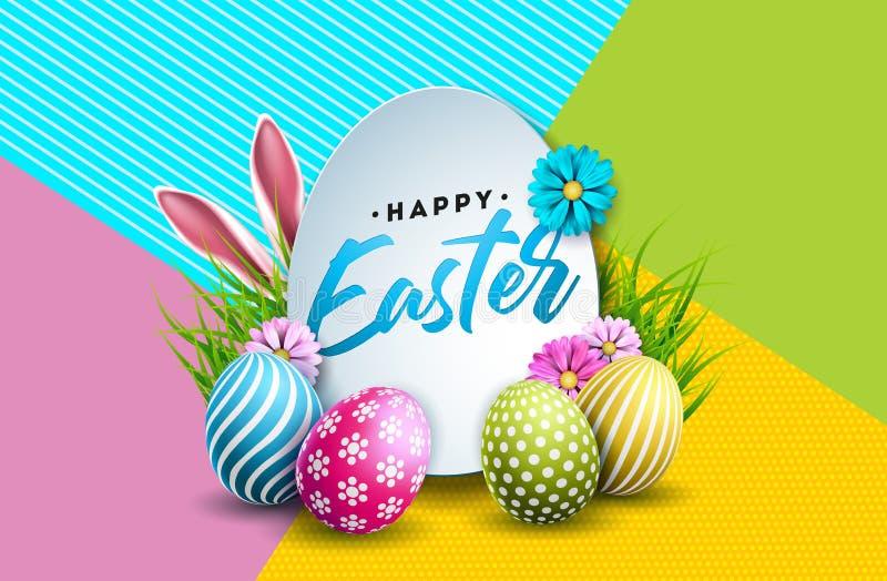 Illustrazione di vettore della festa felice di Pasqua con l'uovo, le orecchie di coniglio ed il fiore dipinti della primavera su  royalty illustrazione gratis