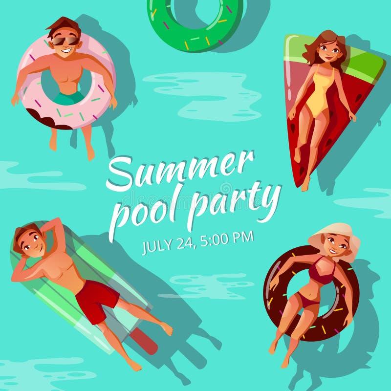 Illustrazione di vettore della festa in piscina di estate illustrazione vettoriale