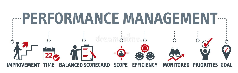 Illustrazione di vettore della gestione delle prestazioni dell'insegna royalty illustrazione gratis