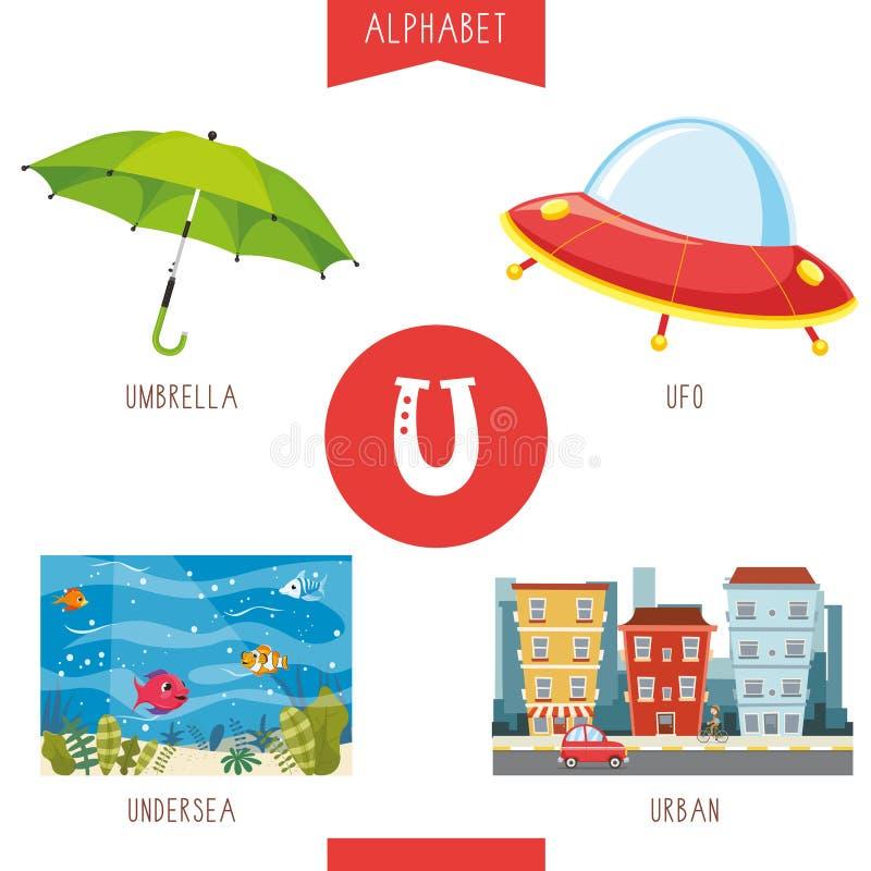 Illustrazione di vettore della lettera U di alfabeto e delle immagini royalty illustrazione gratis