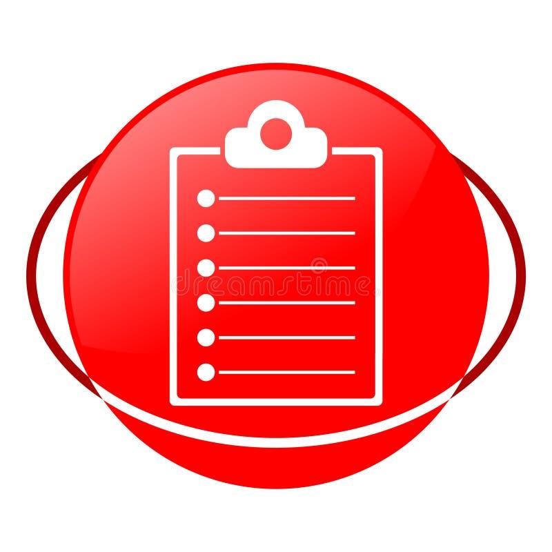 Illustrazione di vettore della lista della lavagna per appunti, icona rossa royalty illustrazione gratis
