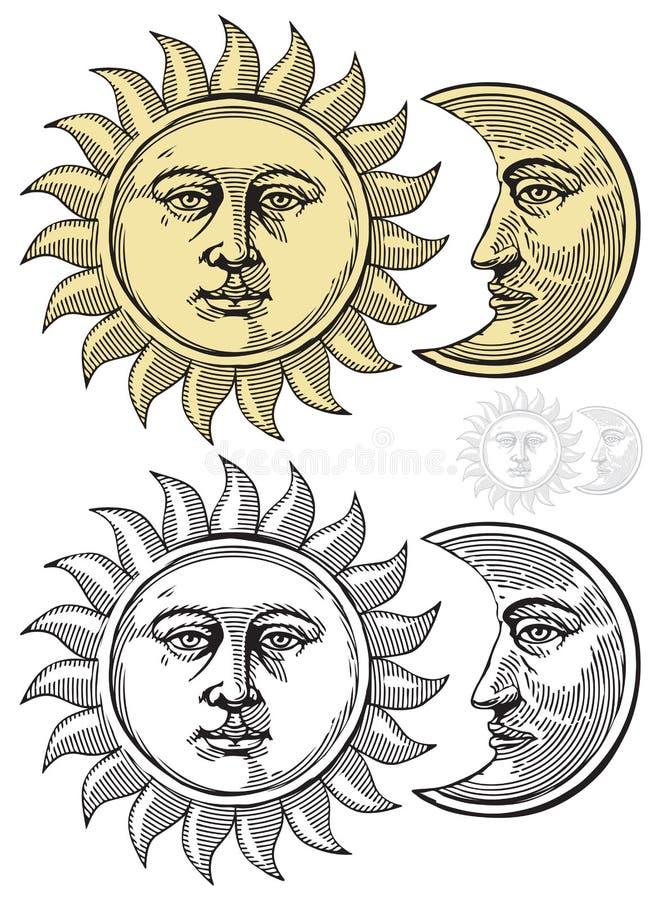 Illustrazione di vettore della luna e di Sun royalty illustrazione gratis