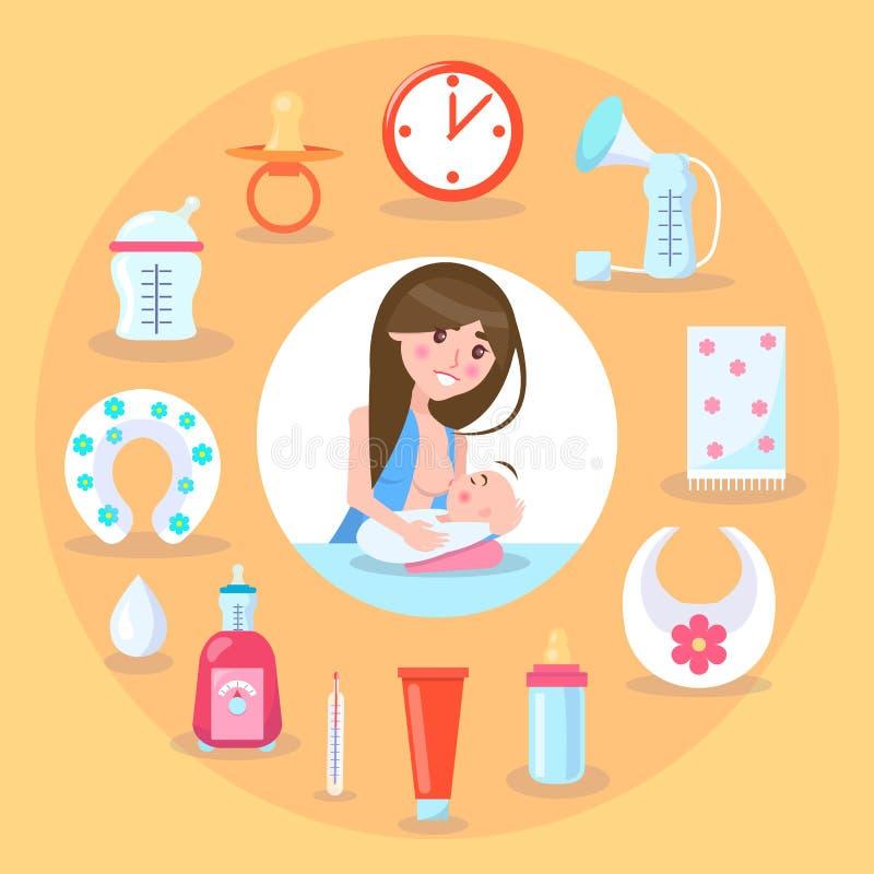 Illustrazione di vettore della madre e del bambino di allattamento al seno illustrazione vettoriale