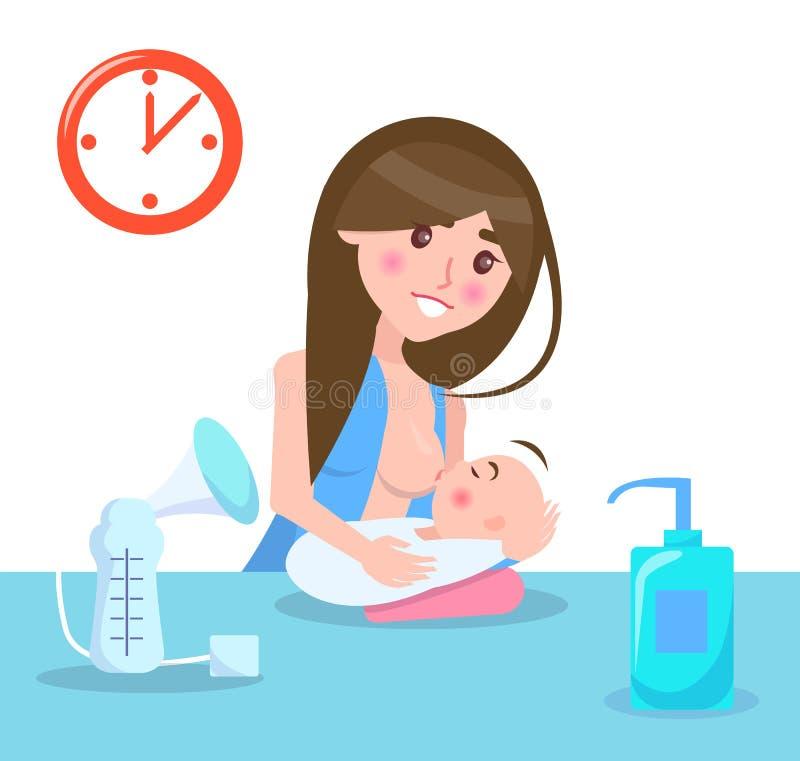 Illustrazione di vettore della madre e del bambino di allattamento al seno royalty illustrazione gratis