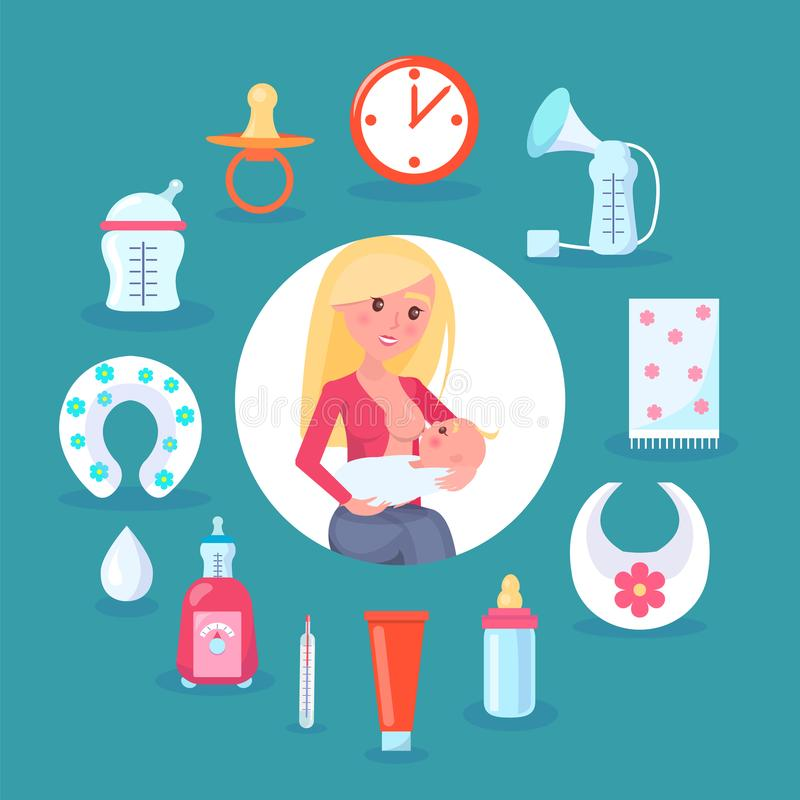 Illustrazione di vettore della mamma e del bambino di allattamento al seno royalty illustrazione gratis