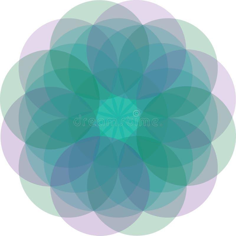 illustrazione di vettore della mandala del fiore con la pendenza molto morbida illustrazione di stock