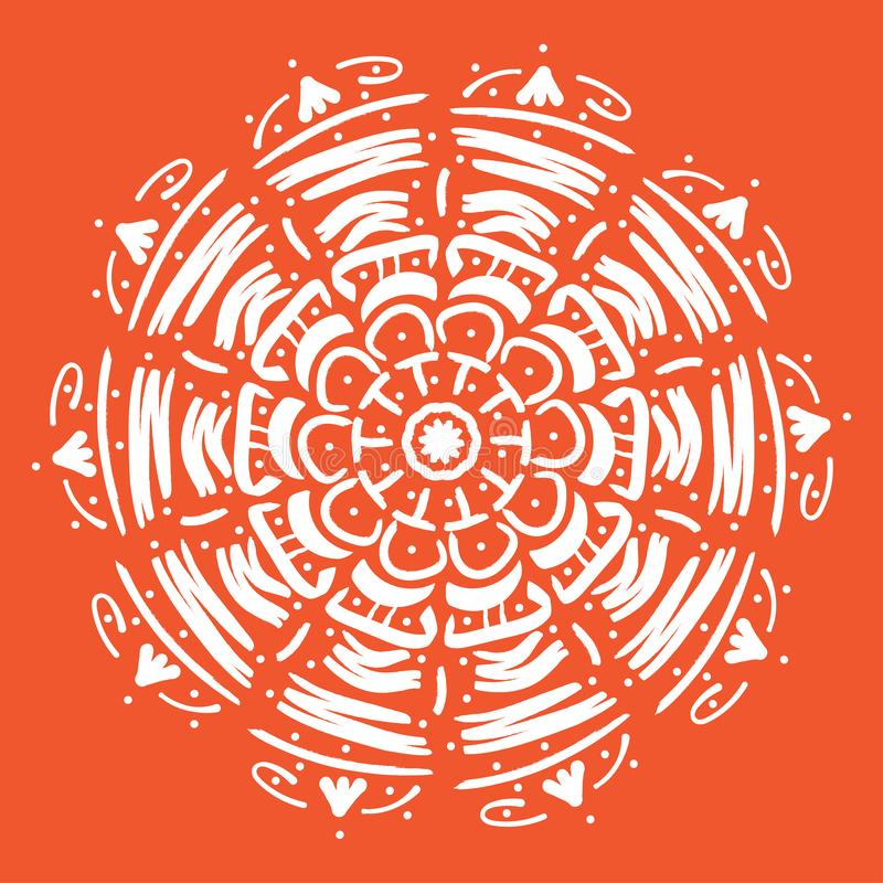 Illustrazione di vettore della mandala Modello orientale floreale dell'estratto rotondo, elementi decorativi d'annata illustrazione di stock