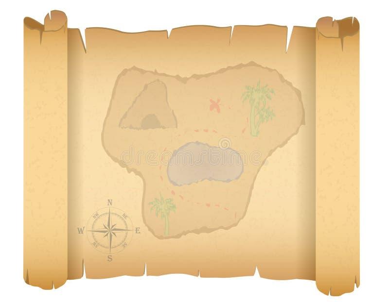 Illustrazione di vettore della mappa del tesoro del pirata illustrazione vettoriale