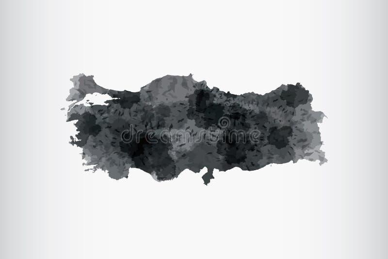 Illustrazione di vettore della mappa dell'acquerello della Turchia nel colore nero su fondo leggero facendo uso del pennello alla illustrazione di stock