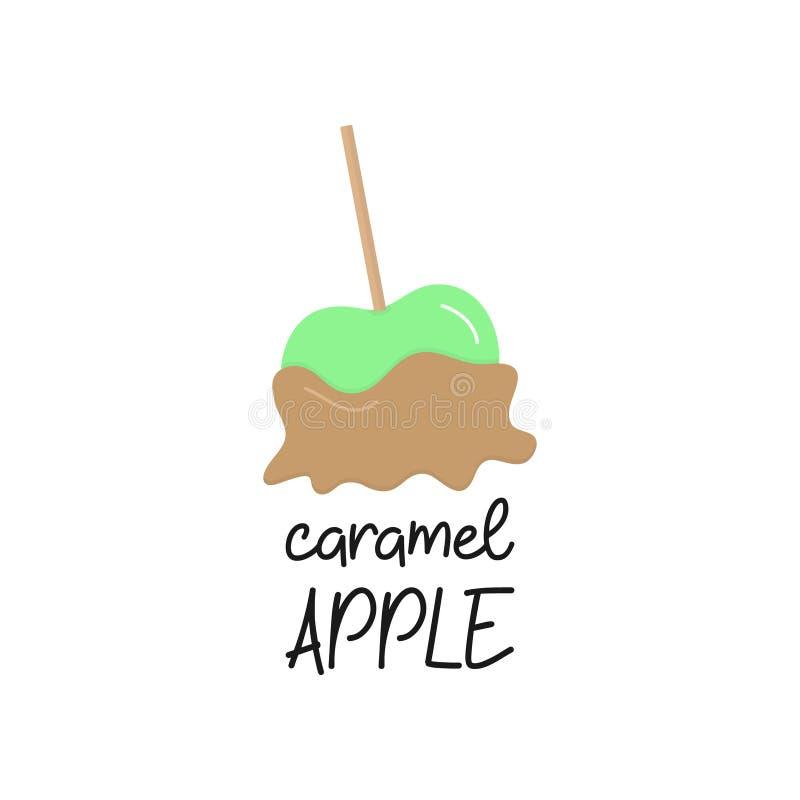 Illustrazione di vettore della mela di caramello con scrittura illustrazione vettoriale