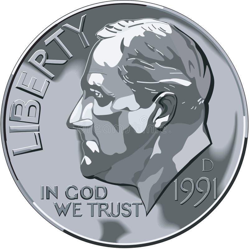 Illustrazione di vettore della moneta da dieci centesimi di dollaro illustrazione vettoriale