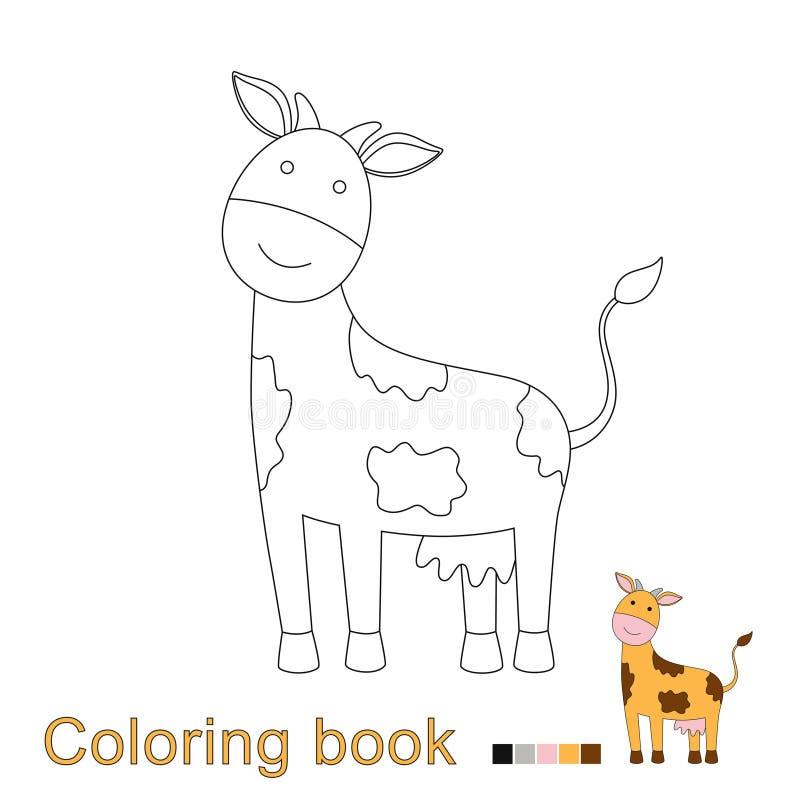 Illustrazione di vettore della mucca divertente per il libro da colorare illustrazione vettoriale