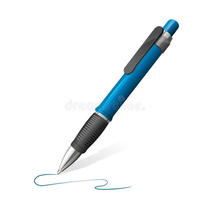Illustrazione di vettore della penna blu illustrazione di stock