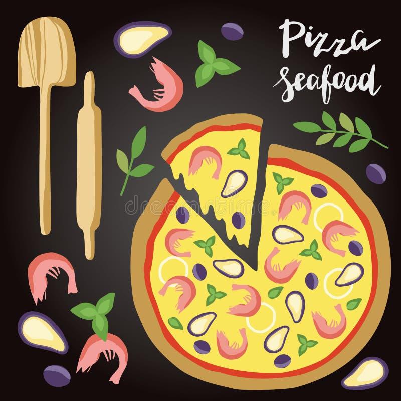 Illustrazione di vettore della pizza dei frutti di mare con gli ingredienti illustrazione vettoriale