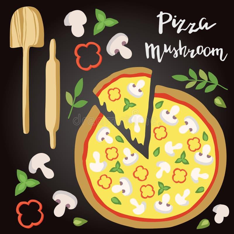 Illustrazione di vettore della pizza del fungo con gli ingredienti royalty illustrazione gratis