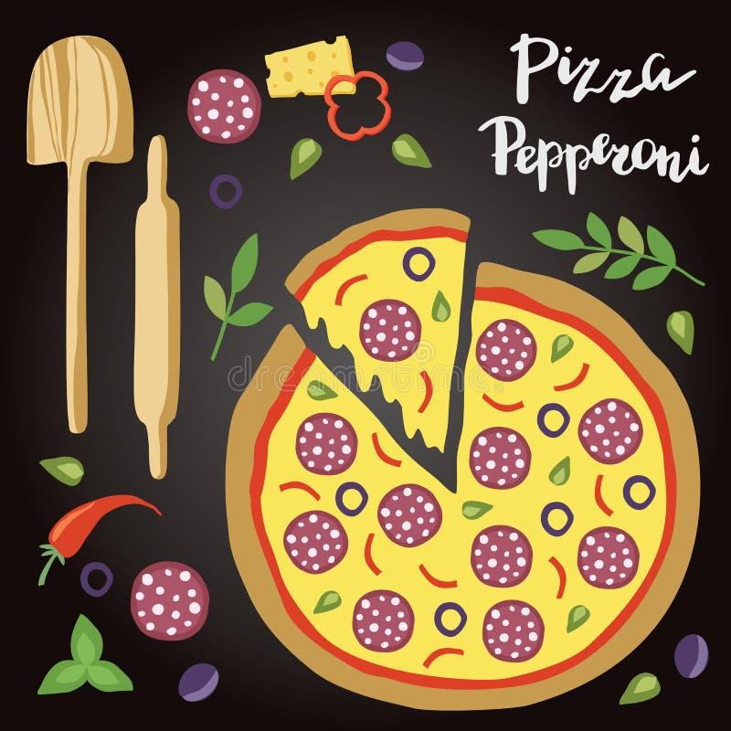 Illustrazione di vettore della pizza di merguez con gli ingredienti illustrazione di stock