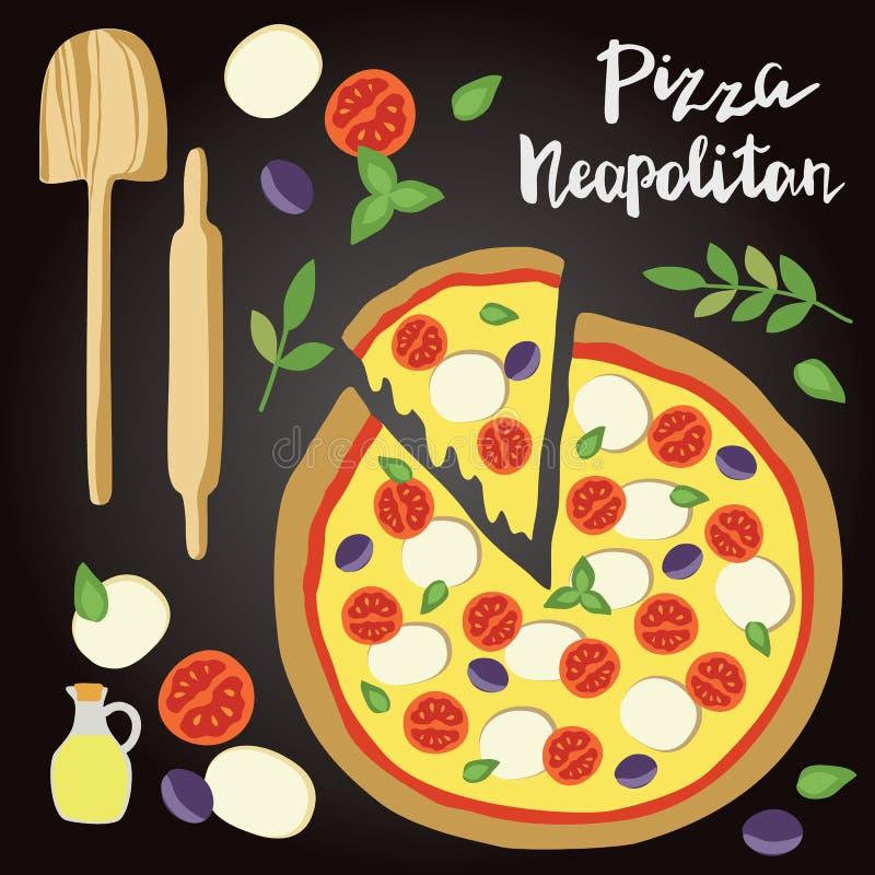 Illustrazione di vettore della pizza di Neopolitan con gli ingredienti illustrazione vettoriale