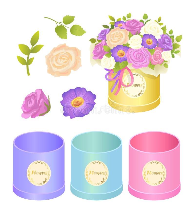 Illustrazione di vettore della raccolta dei fiori e delle scatole royalty illustrazione gratis