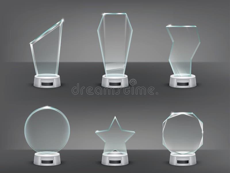 Illustrazione di vettore della raccolta dei trofei di vetro moderni, premi illustrazione vettoriale