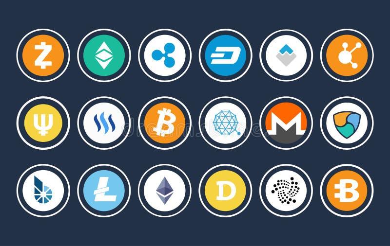 Illustrazione di vettore della raccolta dell'icona di Cryptocurrency illustrazione di stock