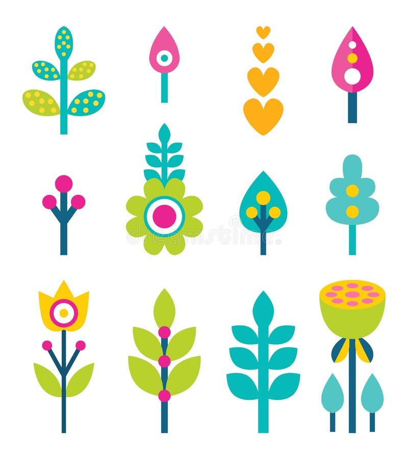 Illustrazione di vettore della raccolta delle foglie e dei fiori illustrazione di stock