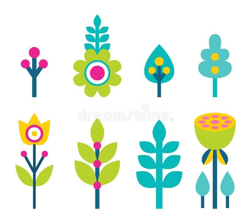 Illustrazione di vettore della raccolta delle foglie e dei fiori royalty illustrazione gratis