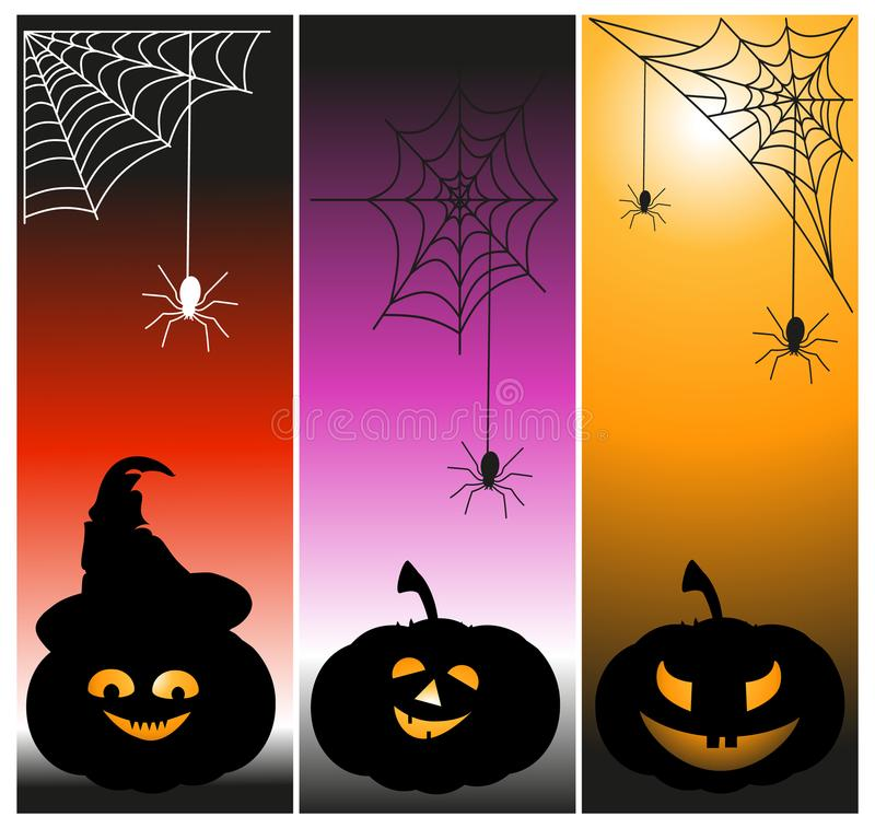 Illustrazione di vettore della raccolta di festa del fantasma della zucca delle insegne del partito di Halloween illustrazione di stock