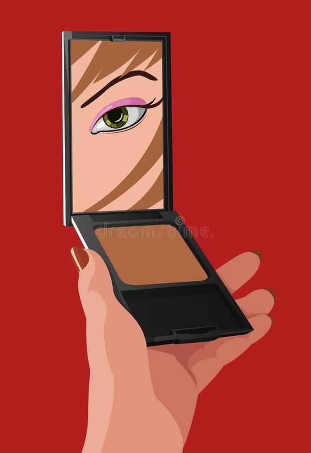 Illustrazione di vettore della ragazza con lo specchio illustrazione di stock