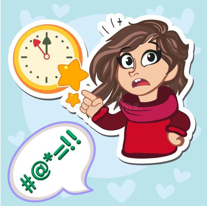 Illustrazione di vettore della ragazza del bambino del bastone che mostra facendo uso del suo braccio come orologio della mano ch illustrazione vettoriale