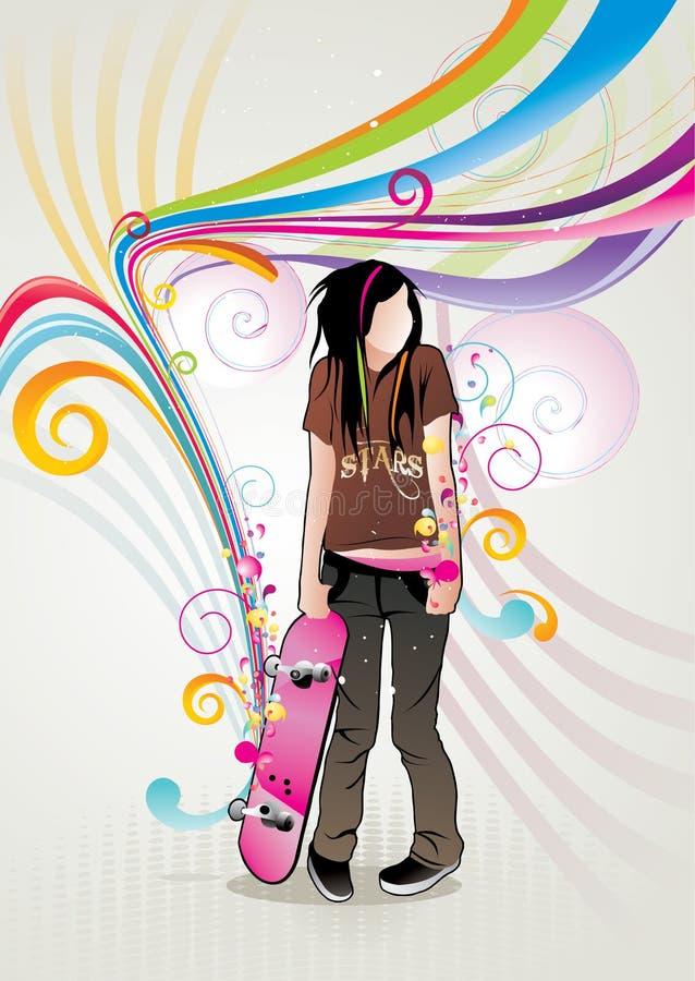 Illustrazione di vettore della ragazza del pattinatore illustrazione vettoriale