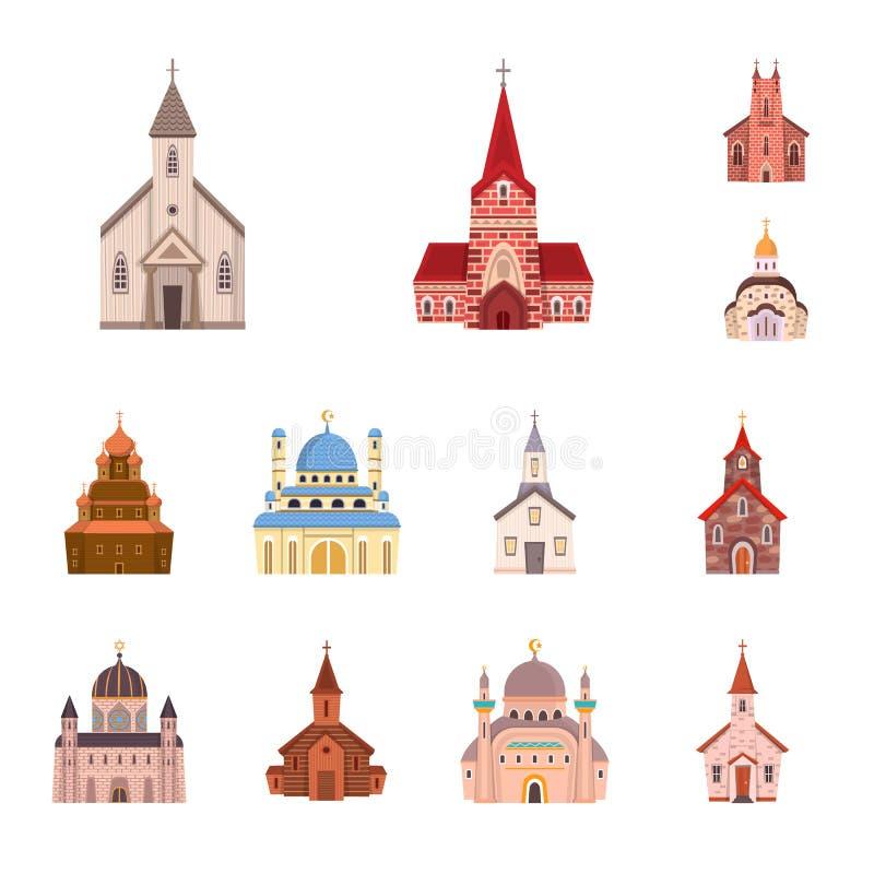 Illustrazione di vettore della religione e del segno della costruzione Raccolta del simbolo di riserva di fede e di religione per royalty illustrazione gratis