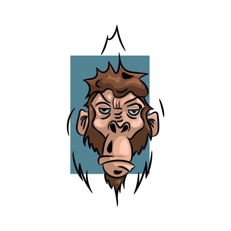 Illustrazione di vettore della scimmia, modello di progettazione di logo con la scimmia fotografia stock libera da diritti