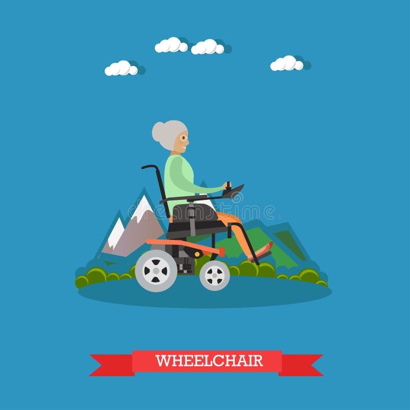Illustrazione di vettore della sedia a rotelle nello stile piano illustrazione vettoriale